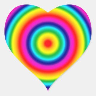 Psychedelic Round Rainbow Pattern Heart Sticker