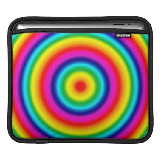 Psychedelic Round Rainbow Pattern Sleeve For iPads