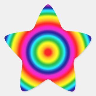 Psychedelic Round Rainbow Pattern Star Sticker