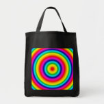 Psychedelic Round Rainbow Pattern Tote Bag