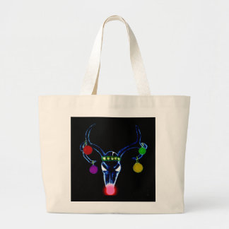 Psychedelic Rudolph Skull Large Tote Bag