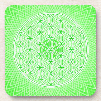 Psychedelic Sacred Geometry Heart Chakra Design Drink Coasters