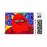 Psychedelic Santa Peace Christmas Stamp