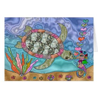 Psychedelic Sea Turtle Seahorse Art Card