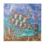 "Psychedelic Sea Turtle Seahorse Art Ceramic Tile<br><div class=""desc"">You are viewing Lee Hiller Photography, Mixed Media or Digital Art Ceramic Tiles. .All tiles are available in 4.25&quot; x 4.25&quot; and 6&quot; x 6&quot; Choose the perfect size for your design ideas and budget. Use as a trivet, coaster, desk art or to decorate your home. The perfect gift of...</div>"