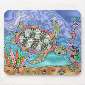 Psychedelic Sea Turtle Seahorse Art Mouse Pad