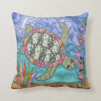 Psychedelic Sea Turtle Seahorse Art Pillow