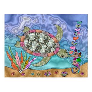 Psychedelic Sea Turtle Seahorse Art Postcard