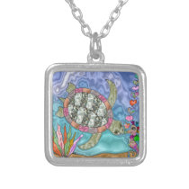 Psychedelic Sea Turtle Seahorse Art Silver Plated Necklace