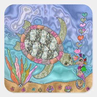 Psychedelic Sea Turtle Seahorse Art Square Sticker