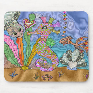 Psychedelic Seahorse Sea Turtle Art Mouse Pad