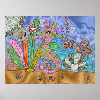 Psychedelic Seahorse Sea Turtle Art Poster