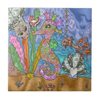 Psychedelic Seahorse Sea Turtle Art Small Square Tile