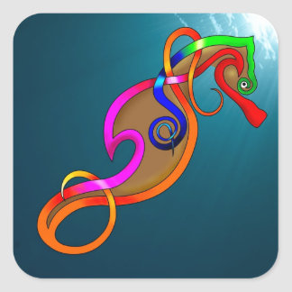 Psychedelic Seahorse Square Sticker