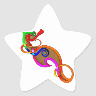 Psychedelic Seahorse Star Sticker