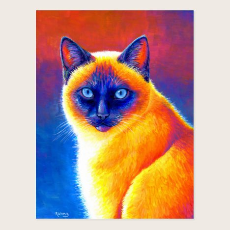 Psychedelic Siamese Cat Colorful Art Postcard