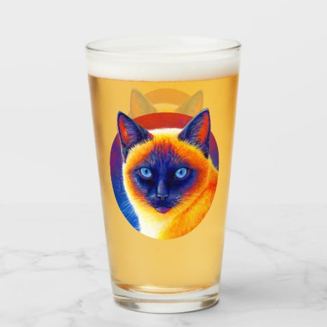 Psychedelic Siamese Cat Glass Cup