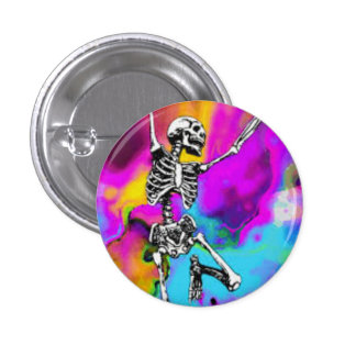 Psychedelic Skeleton Pinback Button