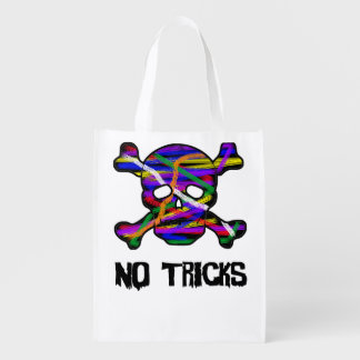 Psychedelic Skull and Cross Bones Trick or Treat Grocery Bag