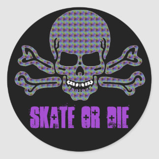 psychedelic skull and crossbones classic round sticker