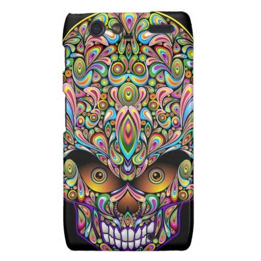Psychedelic Skull Art Design Droid RAZR Cases