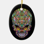 Psychedelic Skull Art Design Ornament