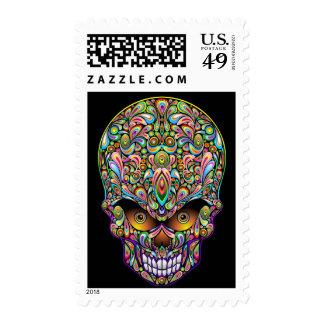 Psychedelic Skull Art Design Postage