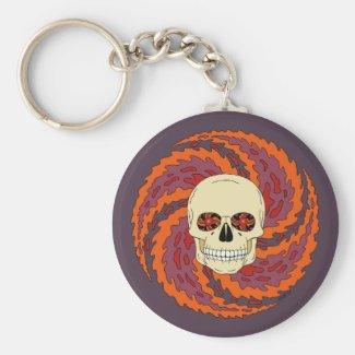 Psychedelic Skull Basic Round Button Keychain
