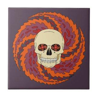 Psychedelic Skull Ceramic Tile