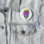 PSYCHEDELIC SKULL DESIGN BUTTON
