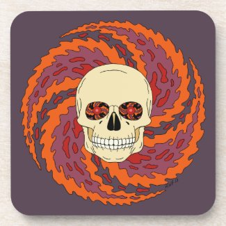 Psychedelic Skull Drink Coaster