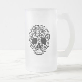 Psychedelic Skull White Frosted Glass Beer Mug