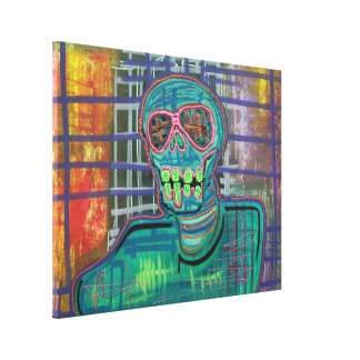 Psychedelic Skull Wrapped Canvas Print