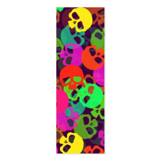 Psychedelic Skulls Bookmark Double-Sided Mini Business Cards (Pack Of 20)