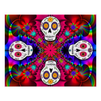 Psychedelic Skulls Poster