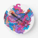 Psychedelic Smile Round Clock
