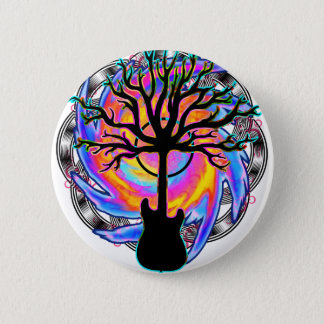 """""""Psychedelic Sonic Cyclone"""" surreal guitar art Button"""