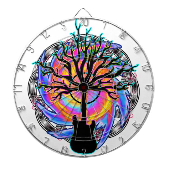 """""""Psychedelic Sonic Cyclone"""" surreal guitar art Dartboard With Darts"""