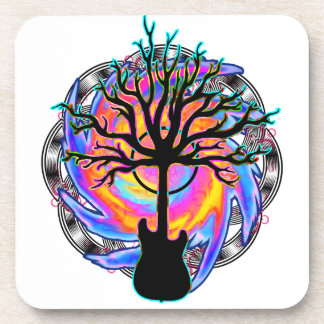 """""""Psychedelic Sonic Cyclone"""" surreal guitar art Drink Coaster"""