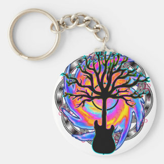 Psychedelic Sonic Cyclone surreal guitar art Keychains