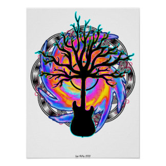 """""""Psychedelic Sonic Cyclone""""  (surreal guitar art) Print"""