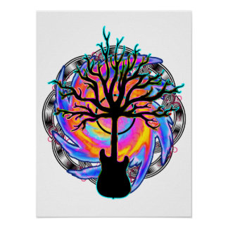 """""""Psychedelic Sonic Cyclone""""  (surreal guitar art) Posters"""