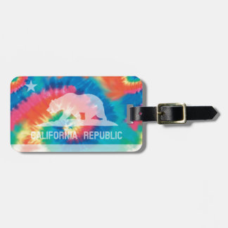 Psychedelic Soul Tie Dyed California Republic Flag Bag Tag