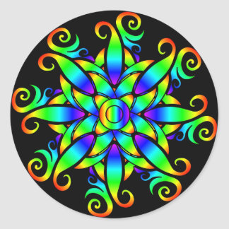 Psychedelic Sphere Spiral Classic Round Sticker
