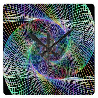 Psychedelic Spiral Square Wallclocks