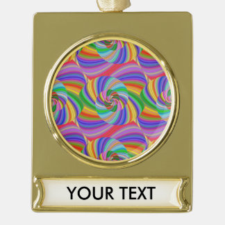 Psychedelic spiral gold plated banner ornament