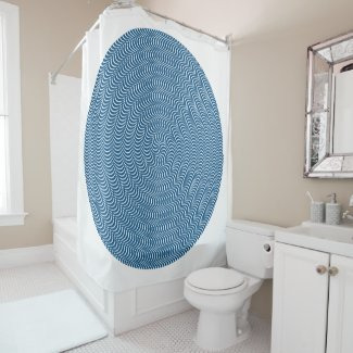 Psychedelic Spiral in Blue... Shower Curtain