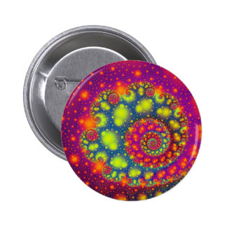 Psychedelic Spiral Neon Decorative Abstract Art Button