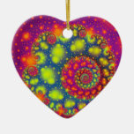 Psychedelic Spiral Neon Decorative Abstract Art Double-Sided Heart Ceramic Christmas Ornament