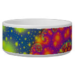 Psychedelic Spiral Neon Decorative Abstract Art Dog Water Bowls